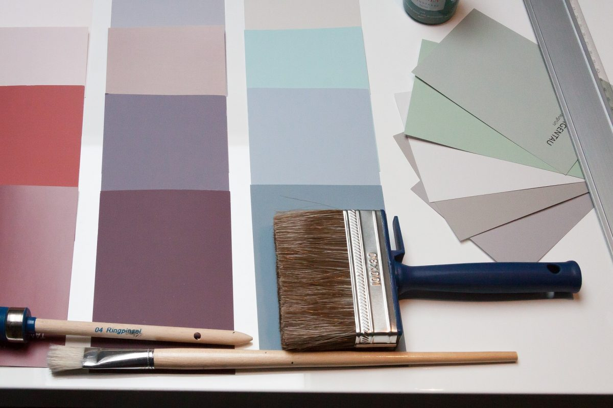 Colour swatches for painting a house